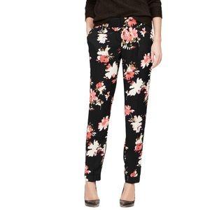 LOFT Marisa pants black floral size 14 work casual